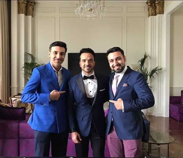 "Luis Fonsi – Singer of the all time hit song ""Despacito"" – wears three piece tuxedo crafted by Knights & Lords for the Global Gift Gala in Dubai"